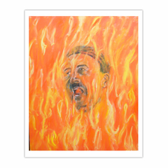 'Adolf burning in Hellfire', (2010). Oil on linen, 110 x 90 cm. (8×10)
