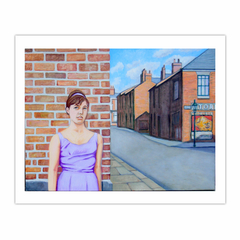 'Geordie girl in a lilac dress' (2013) , oil on linen, 76 x 102 cm (8×10)