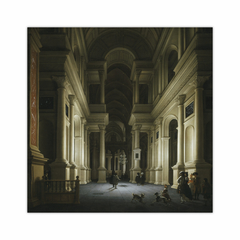 Interior of a Church at Night (12×12)