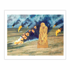 'Oil wells on fire', (2007), oil on linen, 140 x 100 cm. (8×10)