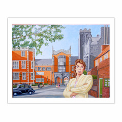 'Pauline at King's College  circa 1958', (2012). Oil on linen. 3 x 4 feet (8×10)