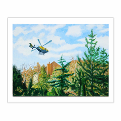 'Police helicopter over Esher', (2011), oil on linen, 90 x 120 cm. (8×10)