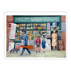 The Newsagent (2014) oil on linen, 140 x 100 cm (12×16)