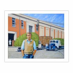 'Vacation work 1950s, Birdseye Pea factory', (2012), oil on linen, 80 x 100 cm (8×10)