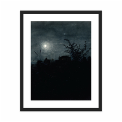 Moonlight Scene, Houses in Background (16×20)