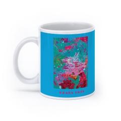 """LIGHT IN THE GARDEN, """"Light Blue"""", LE print of 35, 2014 mug (White)"""