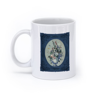 Flowers in a Rococo Vase (11oz, White)